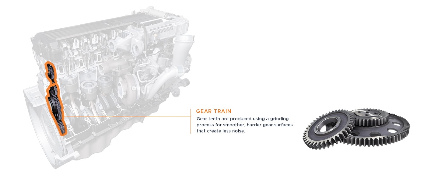 Gear teeth are produced using a grinding process for smoother, harder gear surfaces that create less noise.